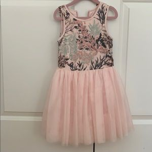 Pippa& Julie pink floral tulle dress size 5T